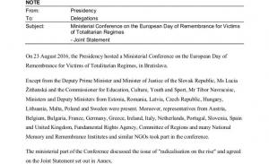 Το 2016 είχε πάρει μέρος η Ελλάδα στη συνδιάσκεψη για τα θύματα του ολοκληρωτισμού;