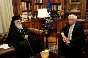Τη στάση της Εκκλησίας στο Σκοπιανό εξήρε ο Παυλόπουλος στη συνάντηση με Ιερώνυμο