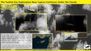 Δορυφορική φωτογραφία «Πορθητή» και τουρκικής φρεγάτας σε Κυπριακή ΑΟΖ